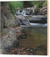 Water Stream On The River With Small Waterfalls Wood Print