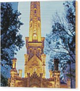 Water Tower At Night In Chicago Wood Print