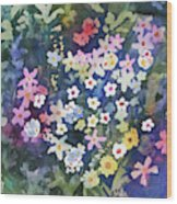 Watercolor - Alpine Wildflower Design Wood Print