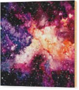 Watercolor Background With Outer Space Wood Print