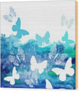 Watercolor Blue Background With Wood Print
