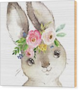 Watercolor Boho Bunny Rabbit Art Print Wood Print