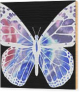 Watercolor Butterfly On Black V Wood Print