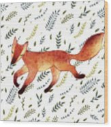 Watercolor Cute Running Fox With Green Wood Print