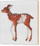 Watercolor Dotted Fawn Painting. Hand Wood Print