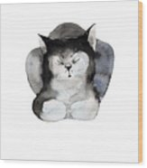 Watercolor Illustration Of Cat For Wood Print