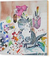 Watercolor - Kitten On My Painting Table Wood Print