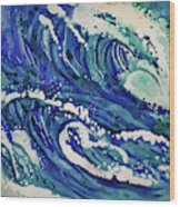 Watercolor - Ocean Wave Design Wood Print