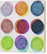Watercolor Painted Circles Various Wood Print