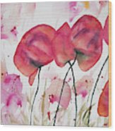 Watercolor - Poppy Portrait Wood Print