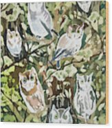 Watercolor - Screech Owl And Forest Design Wood Print