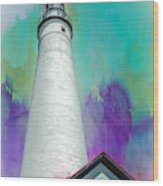 Watercolor Sky Lighthouse Wood Print