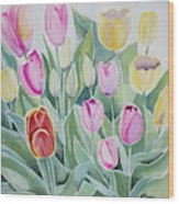 Watercolor - Spring Tulips Wood Print