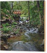Waterfall With Wooden Bridge Wood Print