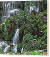 Waterfalls At Seven Star Park Wood Print