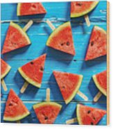 Watermelon Slice Popsicles On A Blue Wood Print