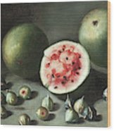 Watermelons And Figs On A Stone Ledge  Wood Print