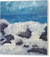 Wave Over Rocks Wood Print