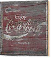 Weathered Coca Cola Sign Wood Print
