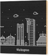 Wellington Skyline Travel Poster Wood Print