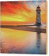 Welsh Lighthouse Sunset Wood Print