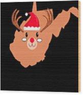 West Virginia Christmas Hat Antler Red Nose Reindeer Wood Print