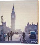 Westminster Bridge At Sunset, London, Uk Wood Print