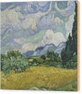 Wheat Field With Cypresses Wood Print