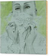 White Lace And Green Eyes Wood Print