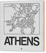 White Map Of Athens Wood Print