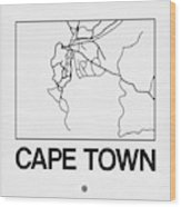 White Map Of Cape Town Wood Print
