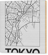 White Map Of Tokyo Wood Print