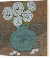White Roses In Teal Vase Wood Print