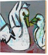 White Swans Wood Print