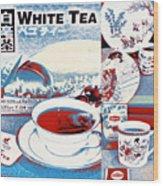 White Tea In Blue And White Wood Print