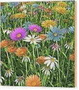 Wildflower Meadow, Artwork Wood Print