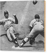 Willie Mays Sliding Into Home Plate Wood Print