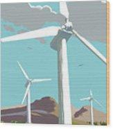 Wind Turbine Farm In Countryside Wood Print