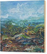 Windy Day In The Grassland. Original Oil Painting Impressionist Landscape. Wood Print