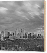 Windy Evening Calgary Downtown Bw Wood Print