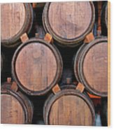 Wine Barrels Stacked Inside Winery Wood Print