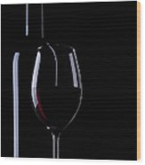 Wine Bottle And Glass Wood Print
