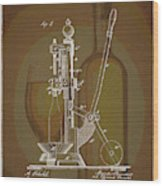 Wine Bottle Corking Patent Wood Print