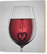 Wineglass, Red Wine, Black Ink And Wood Print