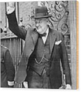 Winston Churchill Showing The V Sign Wood Print