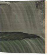 American Falls In Winter, New York Wood Print