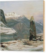 Winter At The Sognefjord - Digital Remastered Edition Wood Print