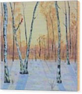 Winter Birches-cardinal Left Wood Print