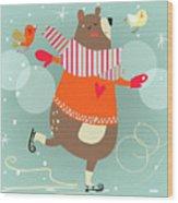 Winter Cartoon Bear Wood Print