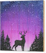 Winter Forest Galaxy Reindeer Wood Print